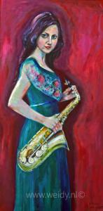 Tine met saxofoon